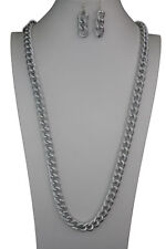 Women Fashion Jewelry Extra Long Necklace Silver Metal Chunky Chain Links Set