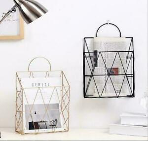 Wall Hanging Shelf Metal Wire Rack Storage Basket Unit With Ring Books Hanger