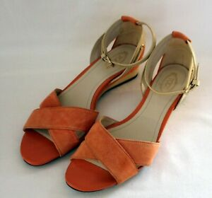 TOD'S ~ Authentic Apricot Suede Peeptoe Sandals w Gold Hardware 38.5 AU 7.5