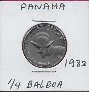 PANAMA 1/4 BALBOA 1982 XF  ARMORED BUST LEFT,NATIONAL COAT OF ARMS