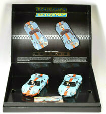 """Scalextric """"Gulf"""" Ford GT40 - 1969 Le Mans LE Boxed Set 1/32 Slot Cars C4041A"""