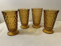 Indiana ICE TEA Glass WHITEHALL Amber Cubist Footed Vintage Goblets Set of 4
