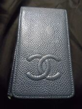 Rare CHANEL CC Logos iPhone 4/4s Case BLUE Caviar Skin Leather Vintage Authentic