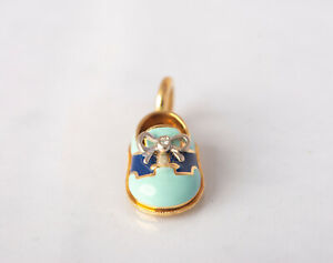 Aaron Basha 18kt Yellow Gold Diamond Blue & Navy Baby Shoe Charm