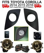 CLEAR FOG LIGHTS KIT FOR 2014-2016 TOYOTA COROLLA CE L LE HARNESS BEZELS H16