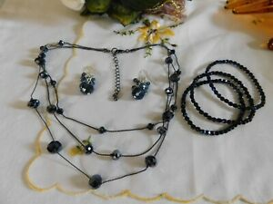 Black Crystal Layered Beaded Necklace, Beaded Bracelets and Dangling Earrings