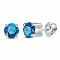 10k White Gold Womens Round Blue Color Enhanced Diamond Solitaire Stud Earrings