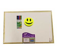 White Board Wooden Frame Wall Mounted Board 4 Markers And Emoji Eraser Included