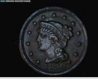 1850 Braided Hair Large Cent   1c old penny (  #5s21 )