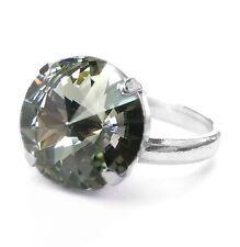 NUOVO Donna Ring 14mm pietra Swarovski Black Diamond/Nero-Grigio Argento Anello Colori