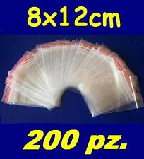 200 pz. BUSTINE ZIP, buste, sacchetti plastica, chiusura a cerniera, 8x12 cm