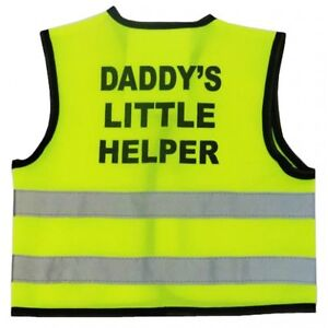 """Hi Visibility Baby Vest Printed """"DADDY'S LITTLE HELPER"""" 0-24 Months in 3 Sizes"""