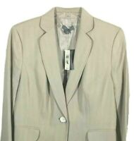 Ann Taylor size 8 blazer womens beige jacket lined button front retail $219 NEW