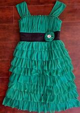 Girls Dress Size 12 Fancy Party Green Ruffles Dance St Patrick's Day Christmas
