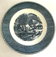 Currier & Ives by Royal Dinner Plate The Old Grist Mill Blue White 9""