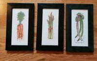 Framed Set of 3 Martha Hinson Vegetable Prints Numbered Asparagus Peas Carrots