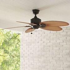 "52"" Indoor/Outdoor Ceiling Fan, Palm Leaf, Bronze, 3-speed, Quiet, Easy Install"