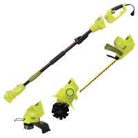 Sun Joe Electric Lawn Care System | Pole Hedge Trimmer | Grass Trimmer | Tiller