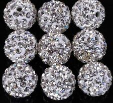 100 Pcs 12 MM 6 Row White Shamballa Beads Crystal Pave Disco Balls Fit Bracelet