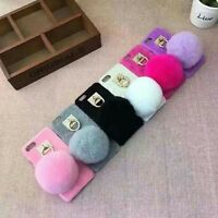 Soft Glitter Bling Plush Fur Pom Pom Ball Back Case Cover for Samsung Galaxy S8