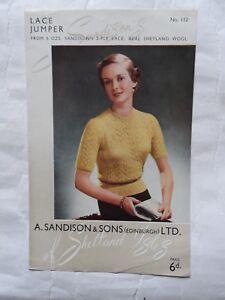 Original 1950's Knitting Pattern Lady's Lace Jumper Sandisons 112