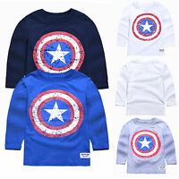 Toddler Kids Boys Cotton Long Sleeve T-shirt Tops Captain America Casual Blouse