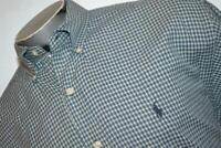 9037-a Mens Polo Ralph Lauren Dress Shirt Size Large Blue Plaids