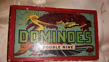 Vintage 1937 Double Nine Dominoes Dragon Black Tiles 56 Tile Original Box HalSan