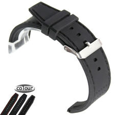 22mm Soft Black Diving Silicone Rubber Watch Band Strap Black Line Silver Buckle