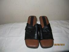 Hush Puppies shoes UK 6 Black toe post leather mules wedge  sandal Worn