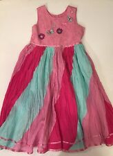 NEW Girl's MONSOON Boutique Pink Blue Beaded BUTTERFLY Party Portrait Dress 6 7