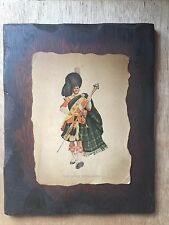 Vintage Dewar Highlander Whiskey Wood Plaque Man in Kilt Burnt Look