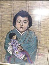 Gemälde Pastell  MARIA MEESS 1953 Japanisches Kind