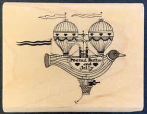 Rubber Stamp Steampunk Duck Hot Air Balloon Peanut Butter Jelly Rubber Stamp