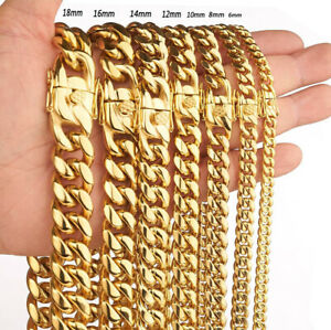 Luxury Mens Necklace Vintage Stainless Steel Miami Cuban Link Chain Gold Plated