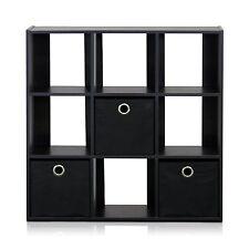 Furinno 13207EX/BK Simplistic 9-Cube Organizer with Bins, Espresso/Black New