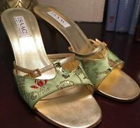 Isaac Italian Designer Open Toe Shoes Sz 8 Asian Design Green Gold Toile #201