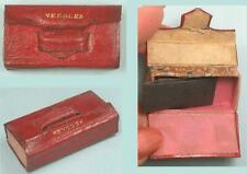 Antique Gold Embossed Leather Book Needle Box * English * Circa 1840