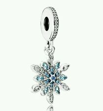 Authentic S925 Pandora Hanging Snowflake Blue C.Z. Crystals Charm 791761NBLMX