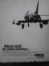 11/1969 PUB FIAT AVIAZIONE FIAT G.91 Y ITALIAN AIR FORCE ORIGINAL FRENCH AD