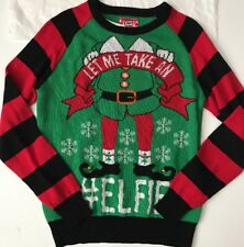 HyBrid HOLIDAY UGLY Christmas SWEATER Men's Let Me Take An #Elfie Small NWT