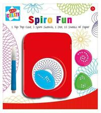 Childrens Spiro FUN FLIP TOP CASE Stencil Pen & Paper Disegno calza Filler