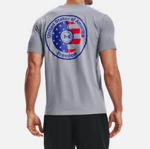 Under Armour Men's UA Heatgear Freedom Americana T-Shirt.Steel.Style:1365203-035