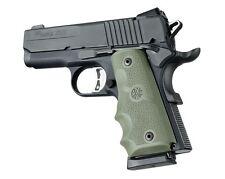 Hogue Grip For 1911 Officers Model - Rubber Finger Grooves OD Green 43001