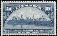 Mint Canada 5c 1933 F-VF Scott #202 UPU Meeting Issue Hinged