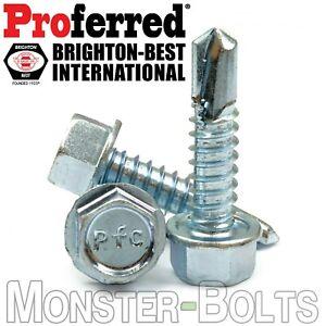 #8 Tek Screws - Indent HWH Hex Washer Head Unsloted, Zinc #2 Point Self Drilling
