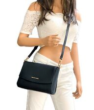 Michael Kors Ellis Medium Flap Messenger Crossbody Leather Bag Black