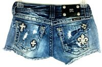 Miss Me Womens Denim Distressed Cut Off Jean Shorts Size 23 Frayed Embellished