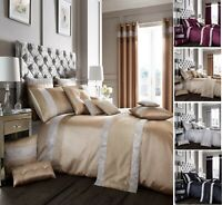 New Designer OXY Diamante Duvet Quilt Cover Set Or Matching Curtains Bedding Set