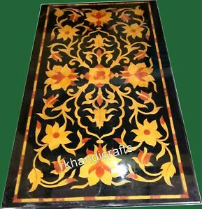 24 x 48 Inches Marble Island Table Top with Yellow Stone Coffee Table Flower Art